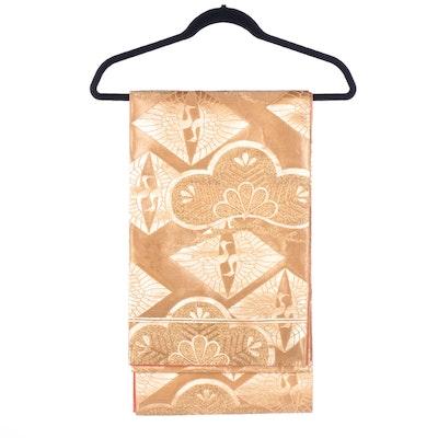Gold Fukuro Obi with Hat of Pine and Crane Motifs, Shōwa period