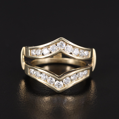 14K Diamond Double Sided Enhancer Ring