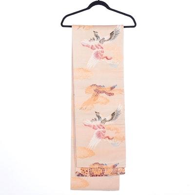 Scenic Floral Eagle and Crane Patterned Maru Obi, Early Shōwa Period