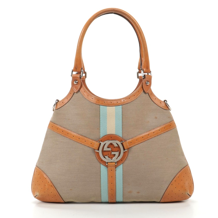 Gucci Web Stripe Canvas and Interlocking GG Tan Perforated Leather Shoulder Bag