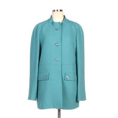 Carlisle Teal Wool Button-Front Coat