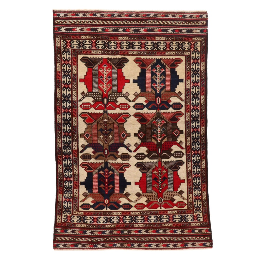 4' x 5'10 Hand-Knotted Afghan Baluch Wool Area Rug