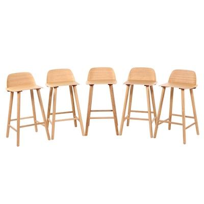 Five David Geckeler for Muuto Modernist Style Counter-Height Bar Stools