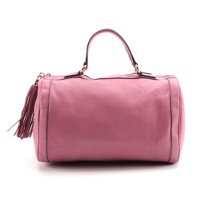 Gucci Soho Boston Bag in Pink Pebble Grained Leather with Tassel