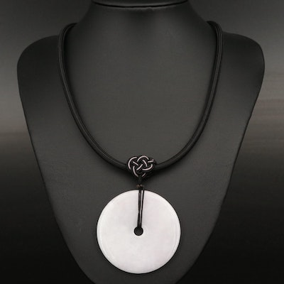 Jadeite and Glass Bi Disk Pendant Necklace