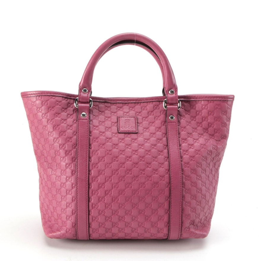 Gucci Children's Tote in Microguccissima Berry Pink Leather