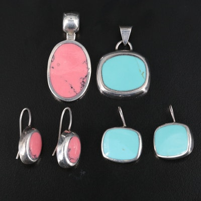 Sterling Faux Turquoise and Faux Rhodonite Pendant and Earring Sets