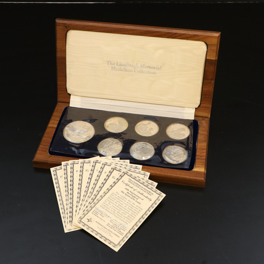 Proof Sterling Silver Charles Lindbergh Commemorative Medallions