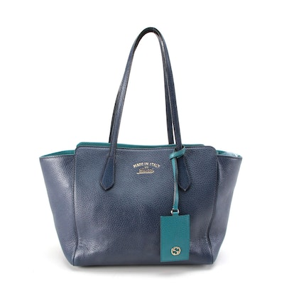 Gucci Small Swing Tote Bag in Navy Blue and Teal Pebbled Leather