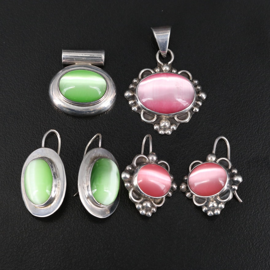 Mexican Sterling Fiberoptic Glass Pendant and Earring Sets