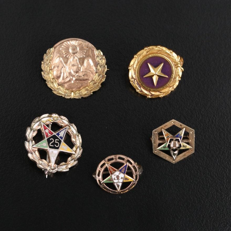 Vintage Masonic Pins with 14K, 10K, 9K and Enamel
