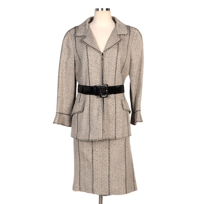 Carlisle Herringbone Skirt Suit with Black Belt
