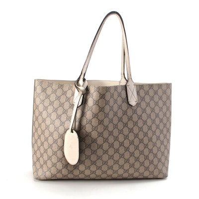 Gucci Reversible Small Tote Bag in GG Supreme Canvas with Off-White Leather Trim
