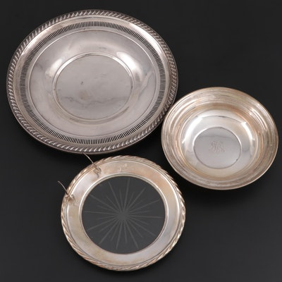 Rogers Sterling Silver Reticulated Tray with Other Sterling and Glass Tableware