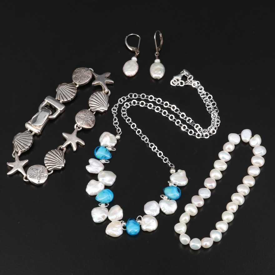 Sterling Jewelry Including Italian Pearl and Glass Necklace