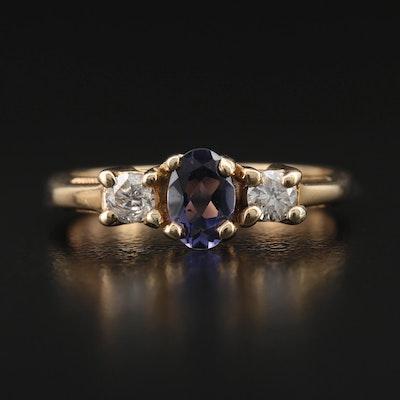 14K Iolite and Diamond Ring