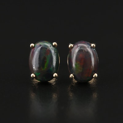 10K Oval Opal Cabochon Stud Earrings