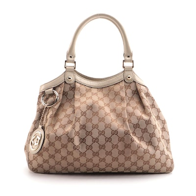 Gucci Medium Sukey Tote in GG Canvas and Ecru Leather Trim