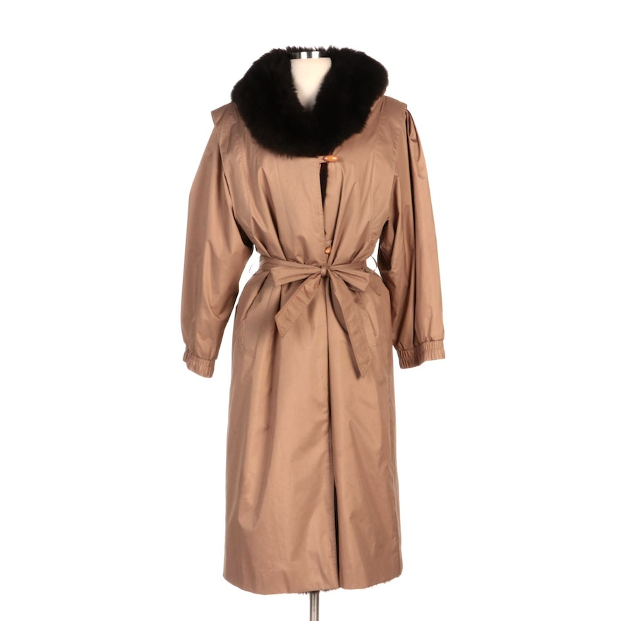 Toggle Coat with Tie Belt and Australian Possum Fur Collar and Lining