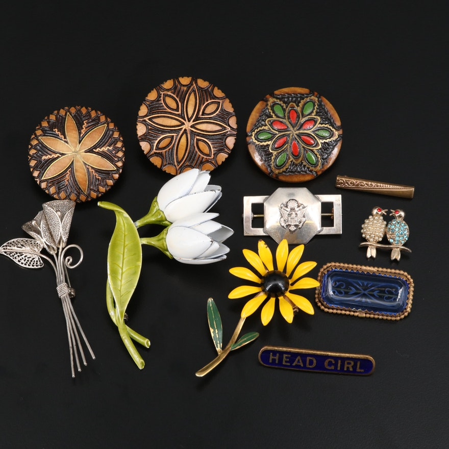 Vintage Brooches Including Reverse Carved Leaded Crystal and Filigree Bouquet