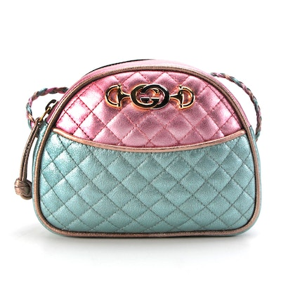Gucci Trapuntata Mini Crossbody Bag in Tricolor Metallic Leather with Box