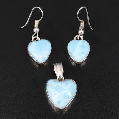 Sterling Larimar Heart Pendant and Earring Set