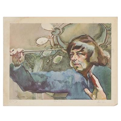 Henry Koerner Offset Lithograph Portrait of André Previn, 1979