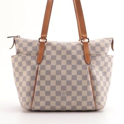 Louis Vuitton Totally PM Tote in Damier Azur Canvas with Vachetta Leather Trim