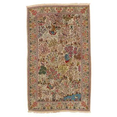 4'11 x 8'9 Hand-Knotted Persian Kerman Pictorial Area Rug