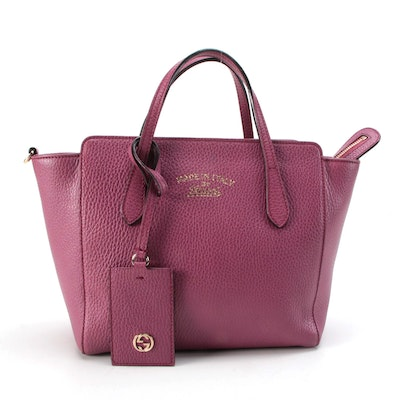 Gucci Mini Swing Tote Two-Way Bag in Plum Pebbled Leather