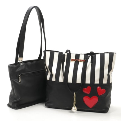 Betsey Johnson Striped Faux Leather Tote with Liz Claiborne Black Leather Tote