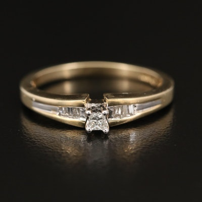 10K Diamond Cathedral Ring with Channel Shoulders