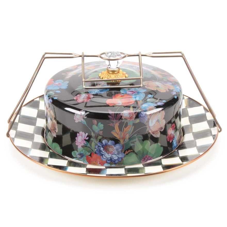 """MacKenzie-Childs Black """"Flower Market"""" Cake Carrier with """"Courtly Check"""" Platter"""