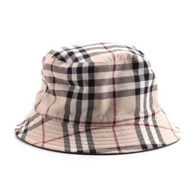 "Burberry Reversible ""Nova Check"" and Blue Denim Bucket Hat"