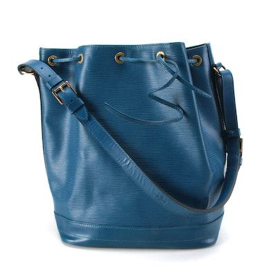 Louis Vuitton Large Noé Bag in Toledo Blue Epi and Smooth Leather