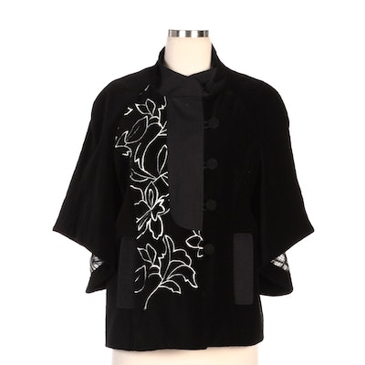 Norman Thompson Floral Embroidered Black Velveteen Jacket