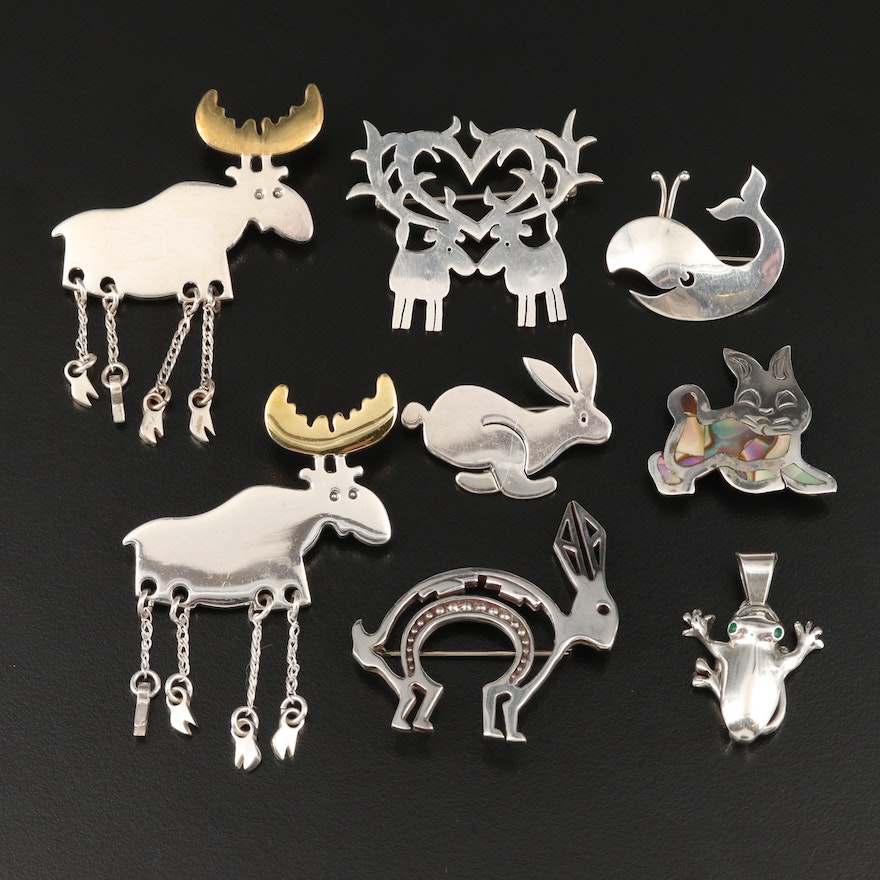 Sterling Animal Brooches and Frog Pendant Including Abalone Accents