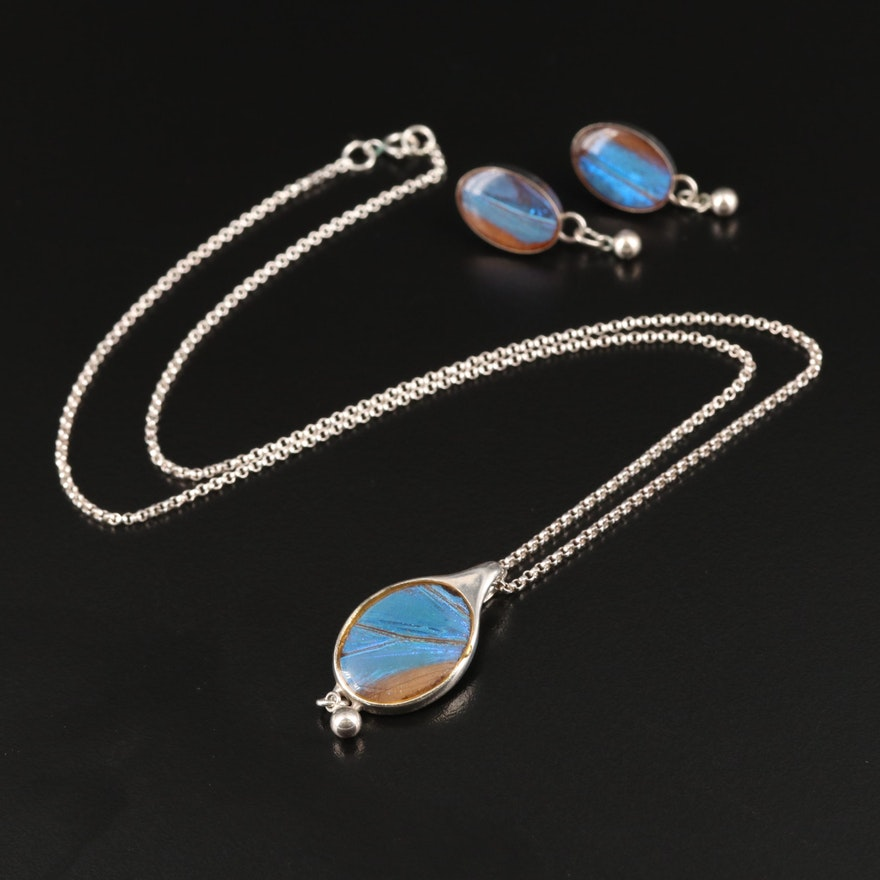 Sterling Butterfly Wing Necklace and Earring Set