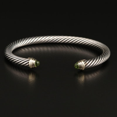 David Yurman Sterling Cable Cuff with Peridot and 14K Accents