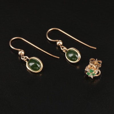 9K Nephrite Earrings with 14K Emerald and Diamond Single Stud Earring