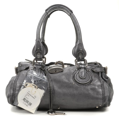 Chloé Paddington Medium Satchel Bag in Anthracite Grained Leather