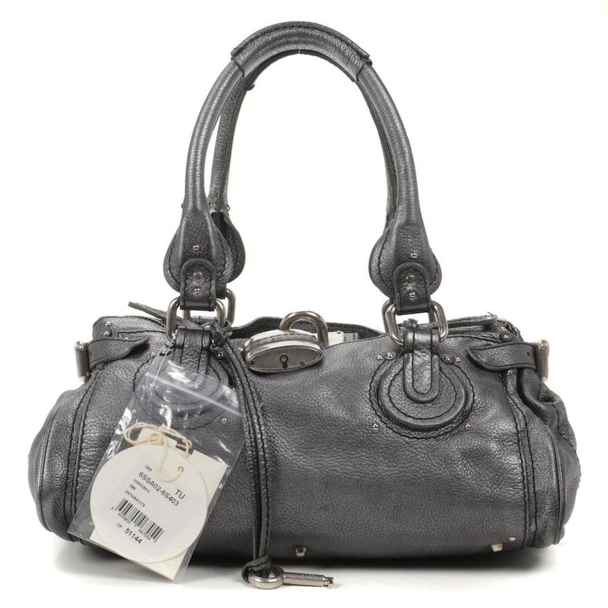 Chloé Paddington Medium Satchel Bag in Anthracite Grained Leather