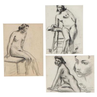 Edgar Yaeger Charcoal Drawings of Female Nudes, 1938 - 1940