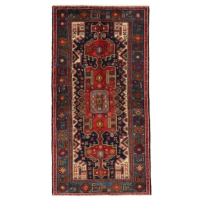 3'7 x 7' Hand-Knotted Persian Kurdish Wool Area Rug