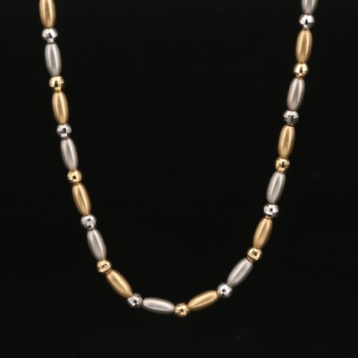 Italian 18K Two Tone Bead Necklace