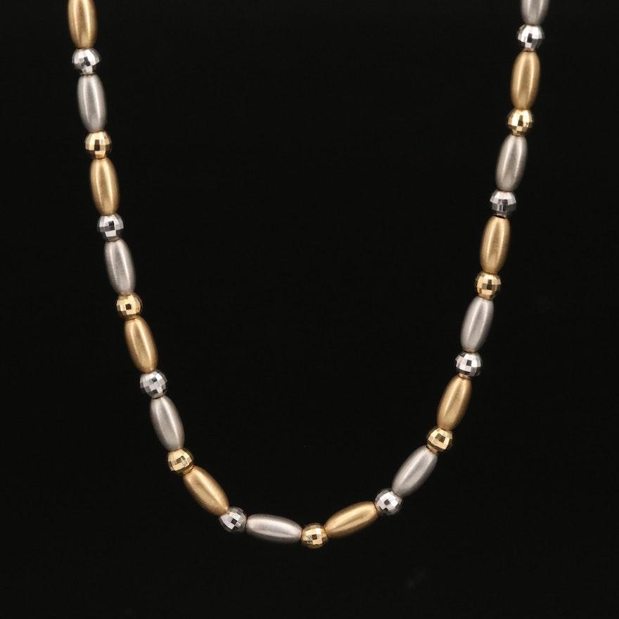 Italian 18K Two Tone Bead Necklace