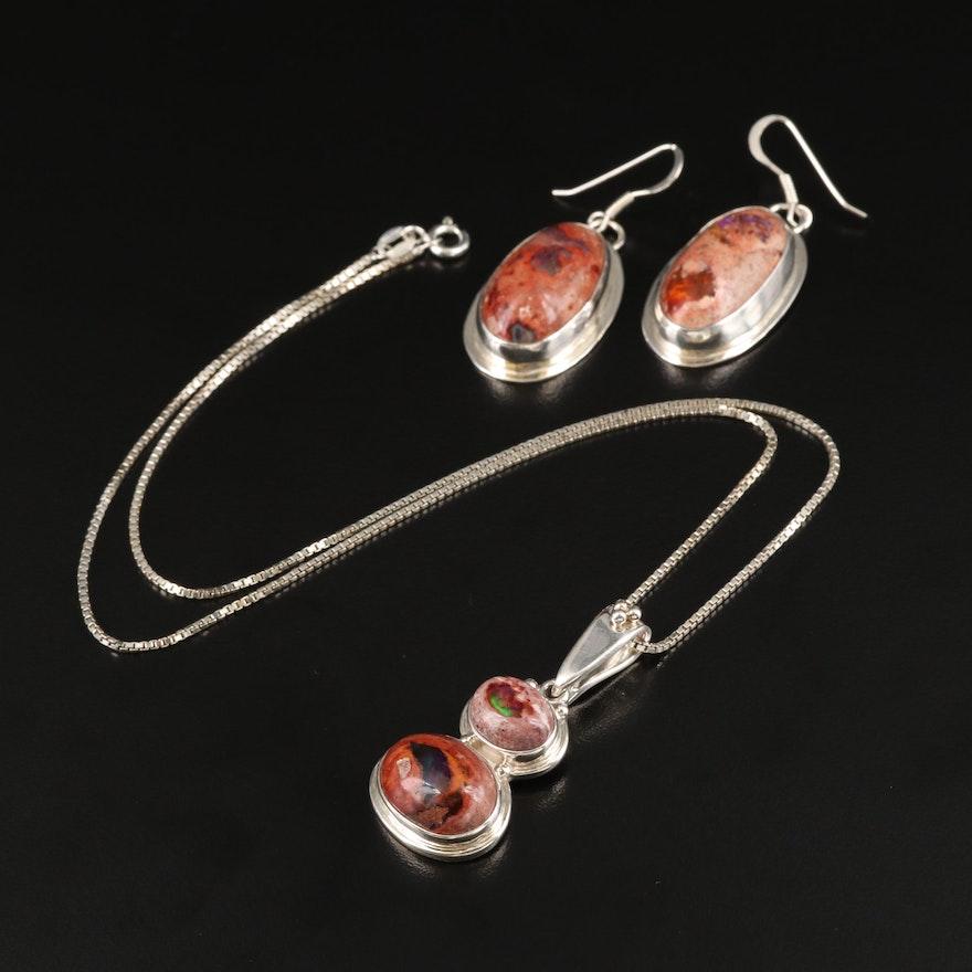 Sajen Sterling Opal in Jasper on Italian Box Chain Necklace with Earrings