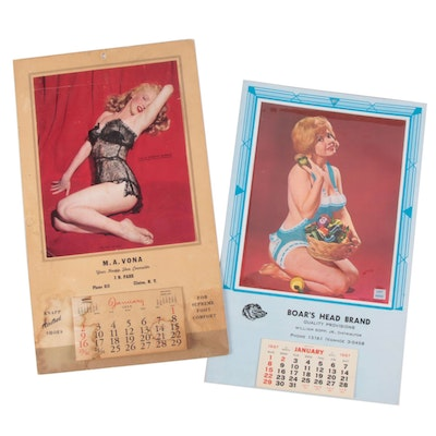 Calendars with Overlay Featuring Marilyn Monroe, 1955 and 1967