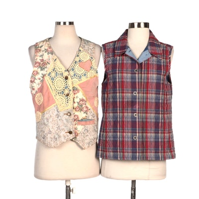 Zipcode and The Tog Shop Floral Patchwork and Quilted Plaid Vests