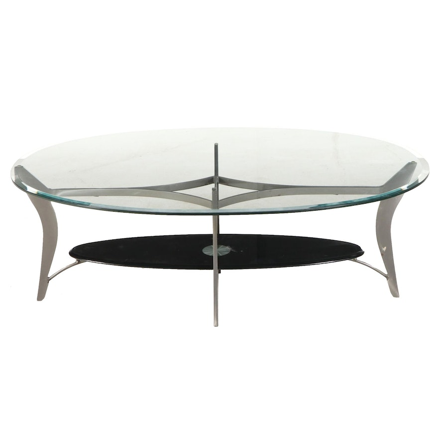Contemporary Modernist Style Metal and Glass Top Coffee Table